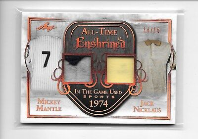 2018 LEAF IN THE GAME SPORTS MICKEY MANTLE JACK NICKLAUS DUAL PATCH SHIRT #14/15 - The Game Jacks