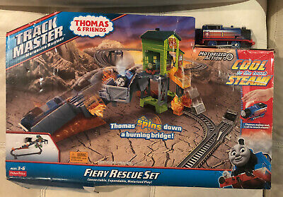 THOMAS & FRIENDS TRACKMASTER FIERY RESCUE SET MOTORIZED TRAIN REAL STEAM