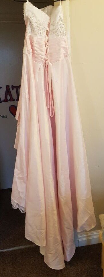 NEW! Pale Pink & White Wedding Dress SIZE 12 Handmade