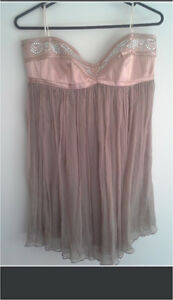 SZ12 Nude Strapless Satin & Sheer Chiffon Top Crestmead Logan Area Preview