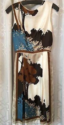 Dolce Gabbana Dress Cream And Brown Print Silk Size 42 (4) NWT$2581