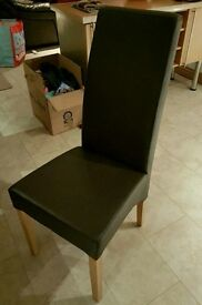 6 Italian leather dining chairs dark brown