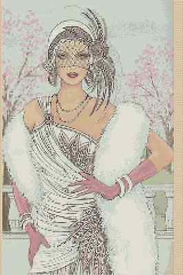 Art Deco Lady in White Dress Counted Cross Stitch Chart No.1-45