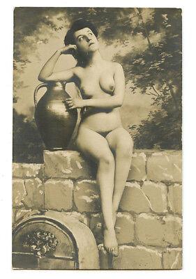 1910s French Nude LOVELY LADY Nice Figure Body Shapely Beauty photo postcard