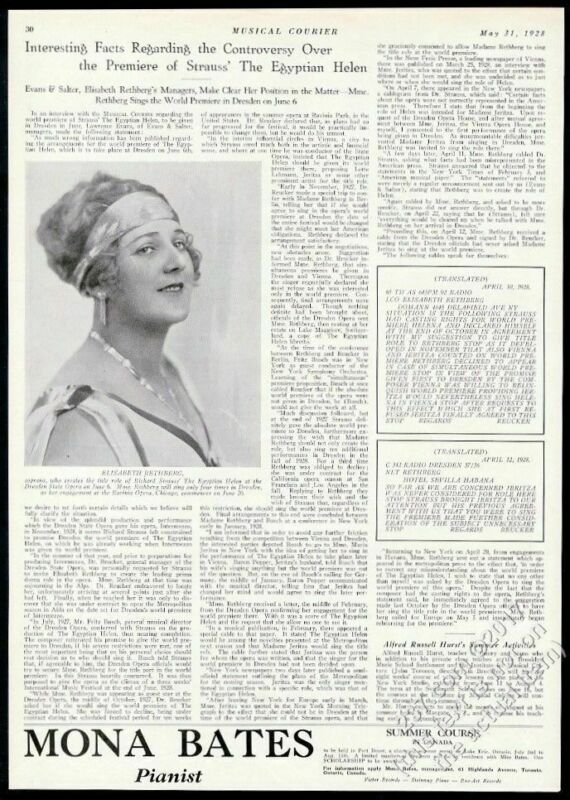 1928 Elisabeth Rethberg photo Strauss The Egyptian Helen premiere print article