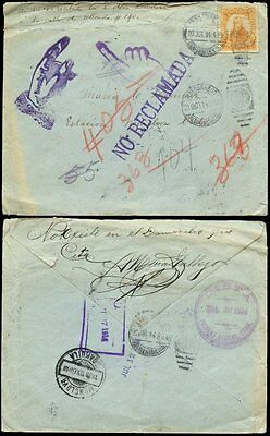 MEXICO 1914 REVOLUTION RETURNED UNCLAIMED MONCLOVA ADVERTISED
