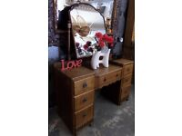 Stunning Unique Gothic Oak Double Pedestal Dressing Table with Mirror Delivery