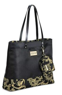 VERSACE Parfums Black and Gold Weekender Tote Purse Handbag Travel GYM Dust Bag