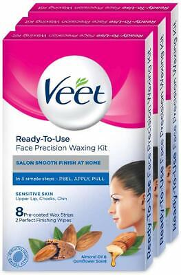 Veet Face Precision Waxing Kit for Upper Lip, Cheeks, Chin- 8 Strips (Pack of