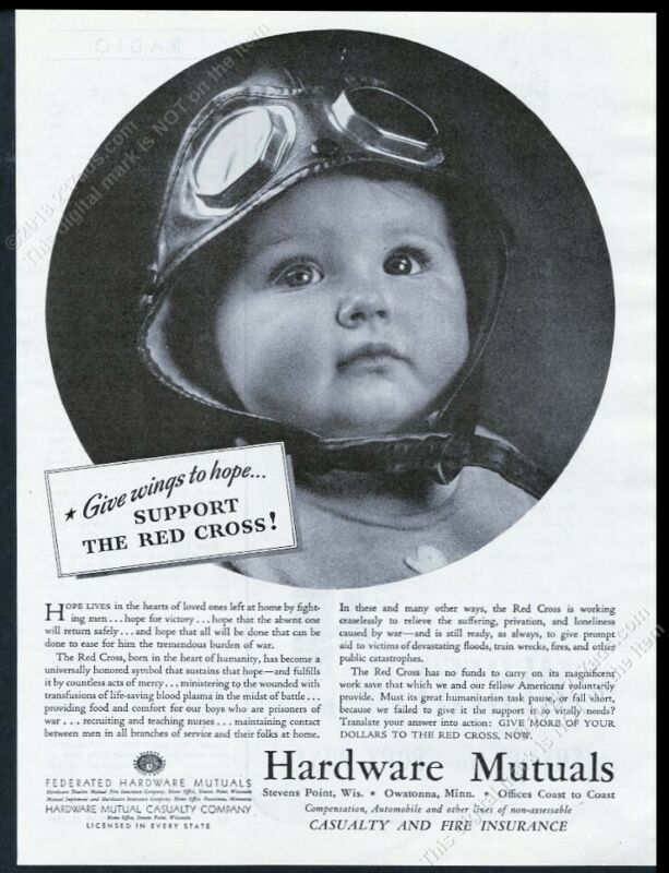 1944 baby in pilot helmet cute photo Hardware Mutuals insurance vintage print ad
