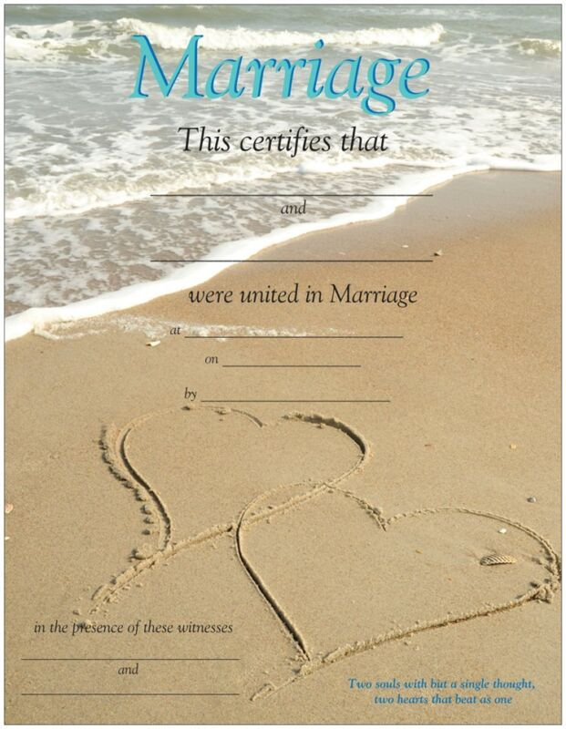 Two Hearts in Sand/Beach Wedding Certificate
