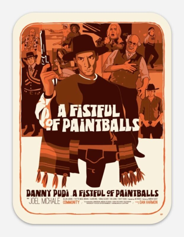 """COMMUNITY TV SHOW A Fistful Of Paintballs 5"""" HUGE STICKER Abed Troy Greendale"""