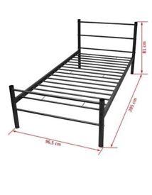 Single metal bed frame black