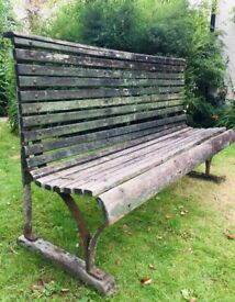 English Antique Victorian Garden Bench Original Paint