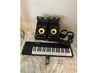 Full studio setup (Krk rokit 6, focusrite, Aston condenser mic, acoustic foam, midi keyboard)