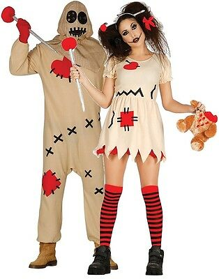 Couples Ladies AND Mens Voodoo Doll Halloween Fancy Dress Costumes Outfits](Halloween Outfits Couples)