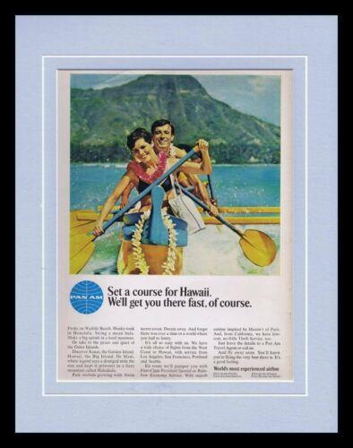ORIGINAL Vintage 1966 Pan Am Airlines / Hawaii 11x14 Framed Advertisement