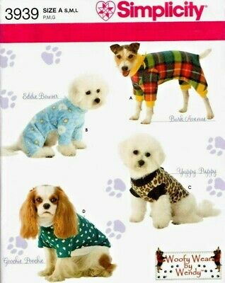 Reduced! Simplicity 3939 Woofy Wear Dog Clothes Costumes Pattern