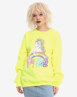 🦄 New Neon Lisa Frank 90s Rainbow Mischief Unicorn Women's Sweatshirt XS-XXXL