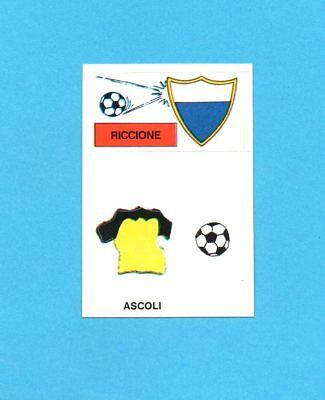 CALCIO 1988-EUROFLASH-Figurina-SCUDETTO RICCIONE+MAGLIA ASCOLI-NEW image