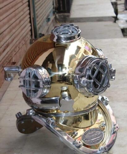 Brass Scuba Deep Diving Helmet  Mark V Us navy Vintage Diving Helm   Home Decora