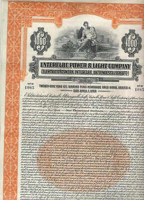 Unterelbe Power & Light Co., 1928, 1000$ Gold Bond, entwertet/ cancelled
