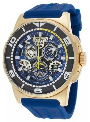 Swiss Made Invicta 18948 Sea Vulture Chronograph Blue Skeleton Dial Men's Watch - Vulture Skeleton
