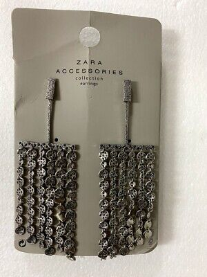 Zara Accessories Collection METALLIC FRINGED EARRINGS - NEW