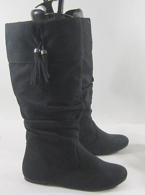 New ladies Black Flat  Round Toe Top Side Style Knee Sexy Boot
