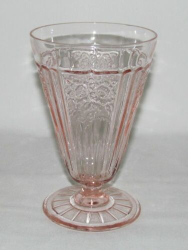 Hocking Glass MAYFAIR Open Rose Pink Footed Water Tumbler