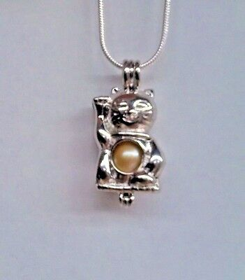Make A Wish Necklace - Make a Wish Pearl Cage Pendant Necklace - Lucky Cat - 925 Chain+Pearl Included