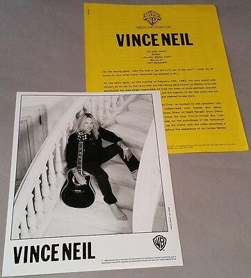 "Vince Neil (Motley Crue) -1995 ""Carved In Stone""- Press Release Kit - Bio,8 x 10"