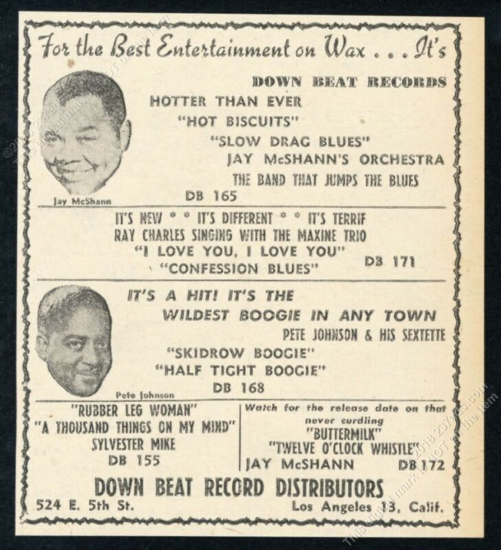 1949 Jay McShann Pete Johnson photo Down Beat Records vintage trade print ad