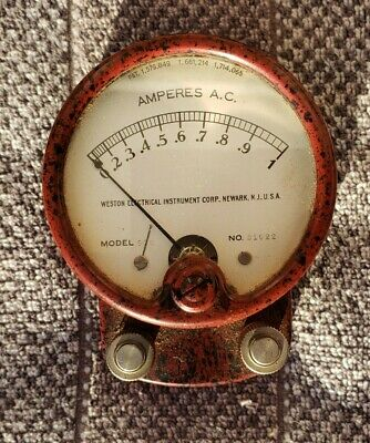 Vintage Weston Electrical Instruments Corp Model 528 Ac Ammeter Red Bakelite