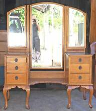 Solid Maple Queen Anne Dressing Table 6 Drawers & Beveled Mirrors Kallangur Pine Rivers Area Preview