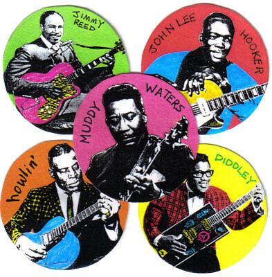 5 BLUES STICKERS. Bo Diddley, Muddy Waters, Howlin' Wolf, John Lee Hooker.