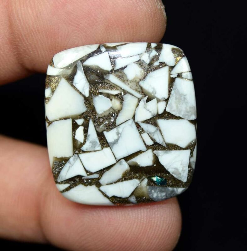 32.05 Cts. Reconstructed Copper White Howlite Cushion Cabochon Loose Gemstone