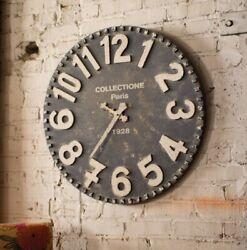 Vintage Paris Chic Style Rustic Distressed Black Wall Clock Big Numbers 28D