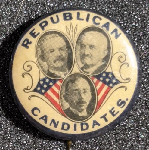 RARE Vintage 1908-1920s Republican Candidates Trigate Campaign Pinback
