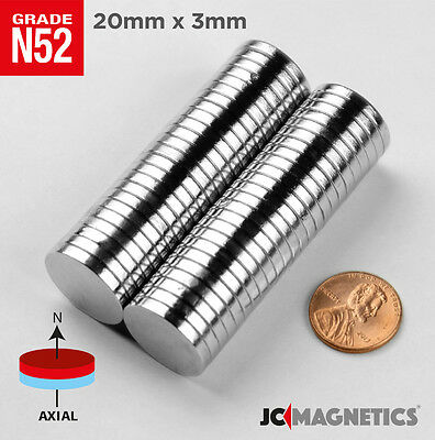 5 10 25 100pc 20mm X 3mm 1316x18 N52 Strong Disc Rare Earth Neodymium Magnet