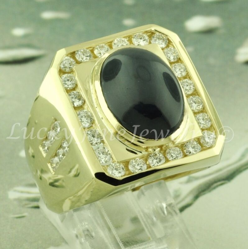 Gigantic 10.38 Ct 14k Solid Yellow Gold Mens Blue Star Sapphire Diamond Ring