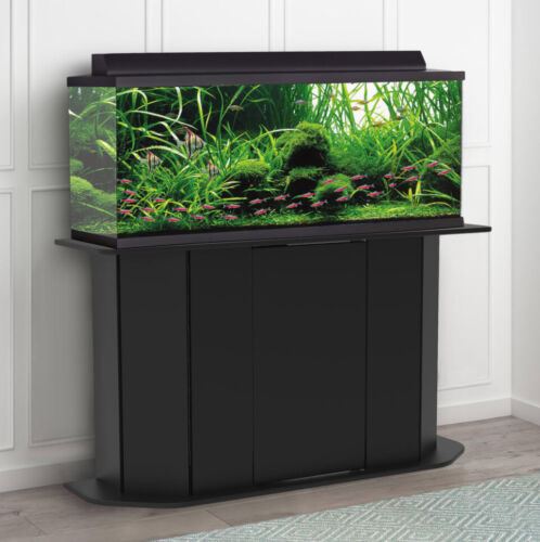 AQUARIUM STAND 55-Gallon Black Solid Wood Storage Fish Tank Not Included