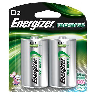 12 D Size Energizer E2 Rechargeable Batteries 2500mah