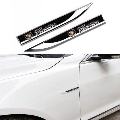 2x CADILLAC Black Metal Emblem Car Trunk Side Wing Fender Decal Badge Sticker