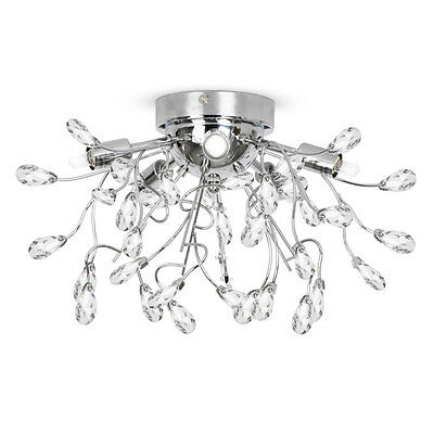 Modern Silver Chrome Halogen Flush 5 Way Ceiling Light Fitting Jewel Chandelier