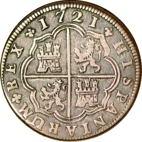 Spain-Phillip V 2 Reales, 1721 VF  K9632