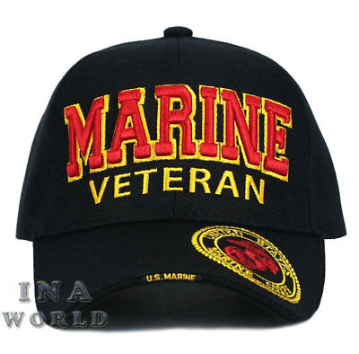 U.S. MARINE hat Military MARINE VETERAN Licensed Baseball cap- Black/Red