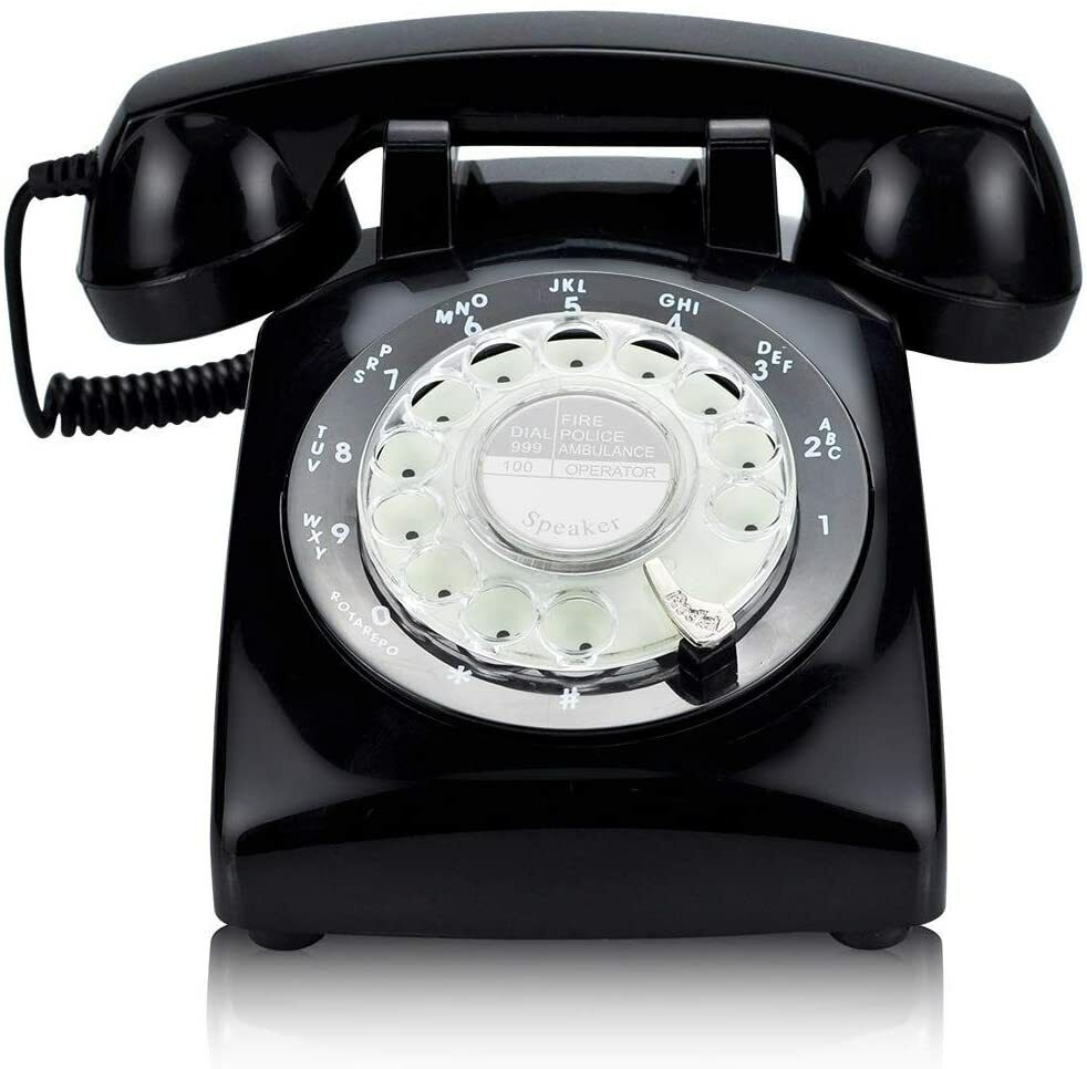 1970 Style Rotary Dial Telephone Phone Real Working Vintage Old Fashion Black