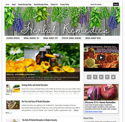 Herbal Remedies   Blog Niche Website Business For Sale Auto Updating Content