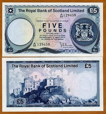 Scotland Royal Bank  5 Pounds  1977  P 337  Unc